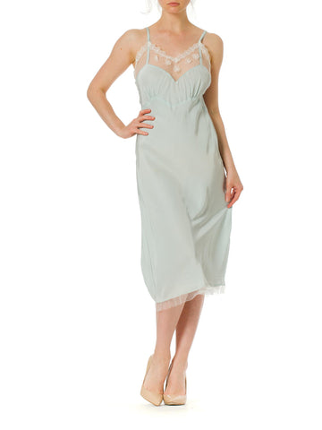 1970s Bias Cut Silk and Mesh Light Blue Lingerie nightgown