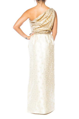 1950S FRANK STARR Champagne & Gold Silk Lurex Syrian Scenic Jacquard One Shoulder Gown