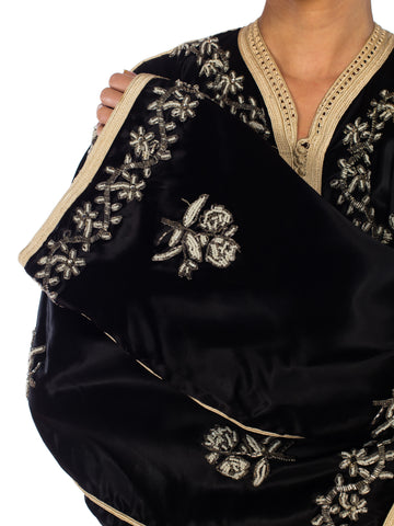1960S Black Beaded Satin Xl Moroccan 