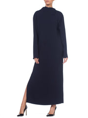 1980s Minimal Navy Blue Crepe Silk Tunic Dress