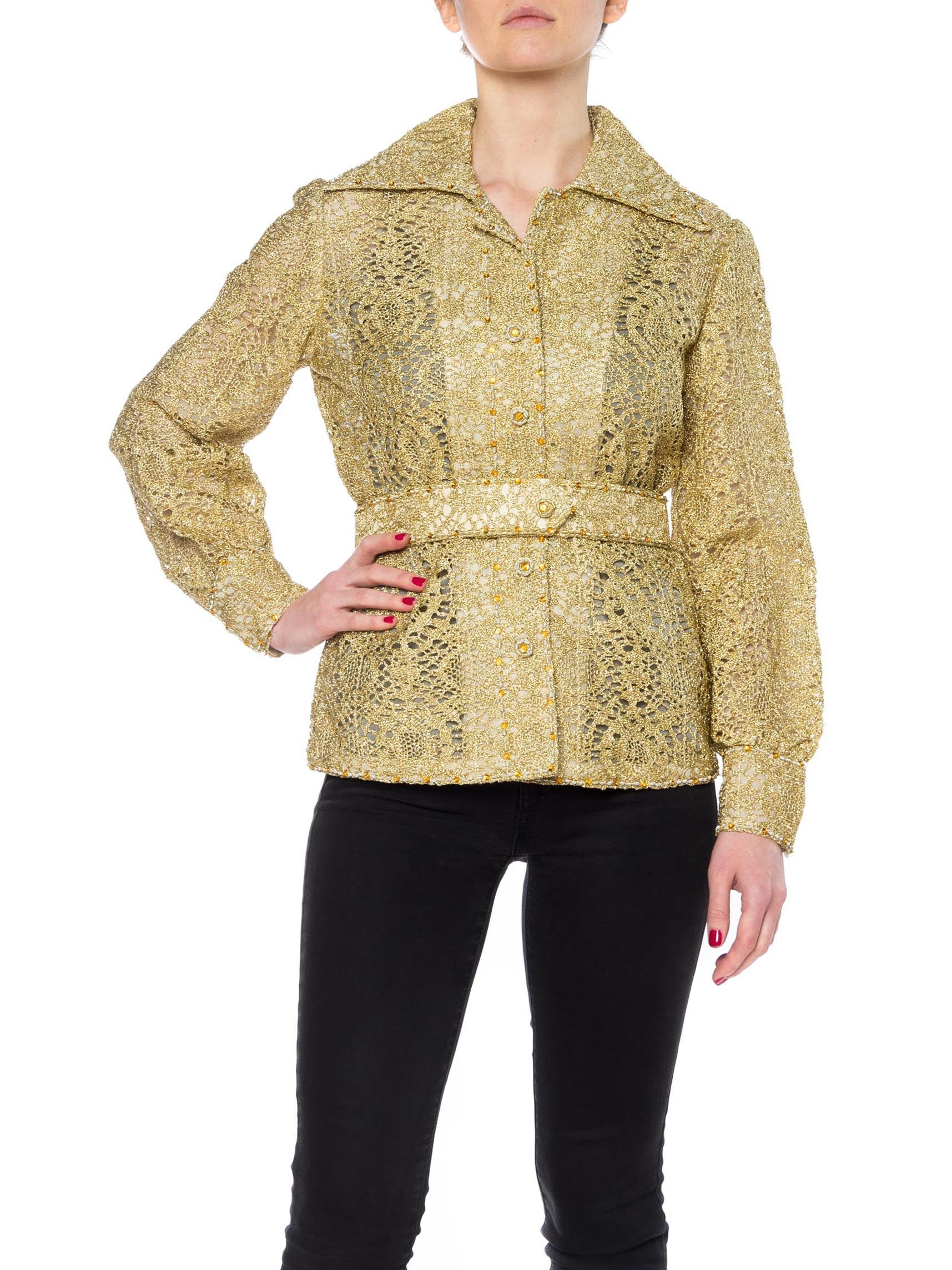 1970S Gold Silk & Lurex Lace Button Front Shirt With Crystals Self Fabric Belt