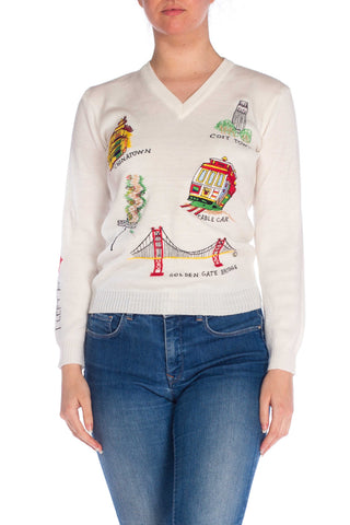 1970S Ivory Acrylic V-Neck Sweater With San Francisco Embroidery