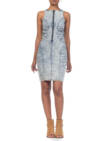 Frayed Denim Bodycon Dress With Crystals