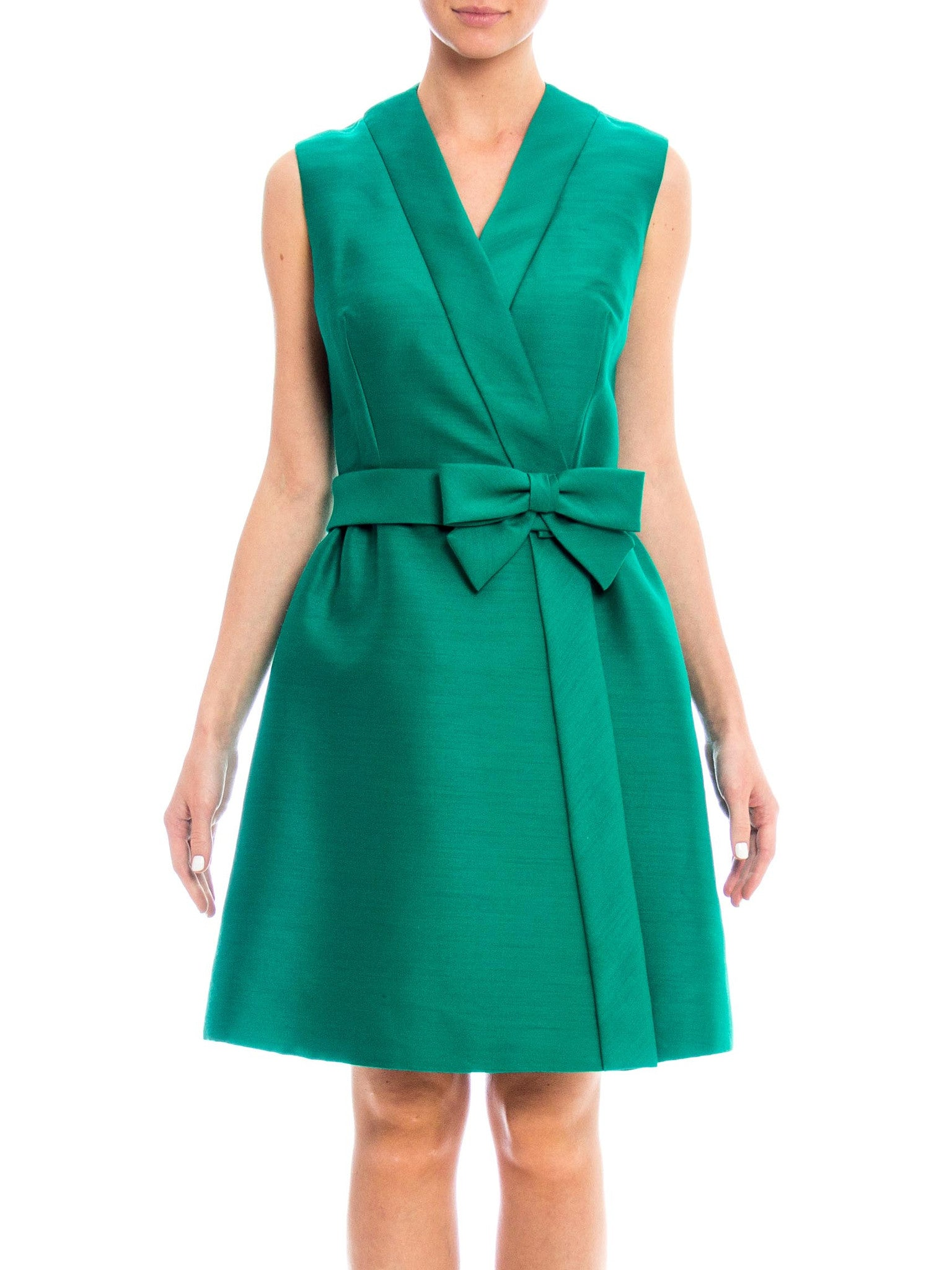 1960s Structured Cocktail Dress with Bow Detail