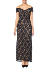 Black Lace Trained Gown by Victor Costa