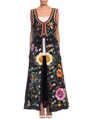 Hand Embroidered Duster Dress With Folk Beaded Top