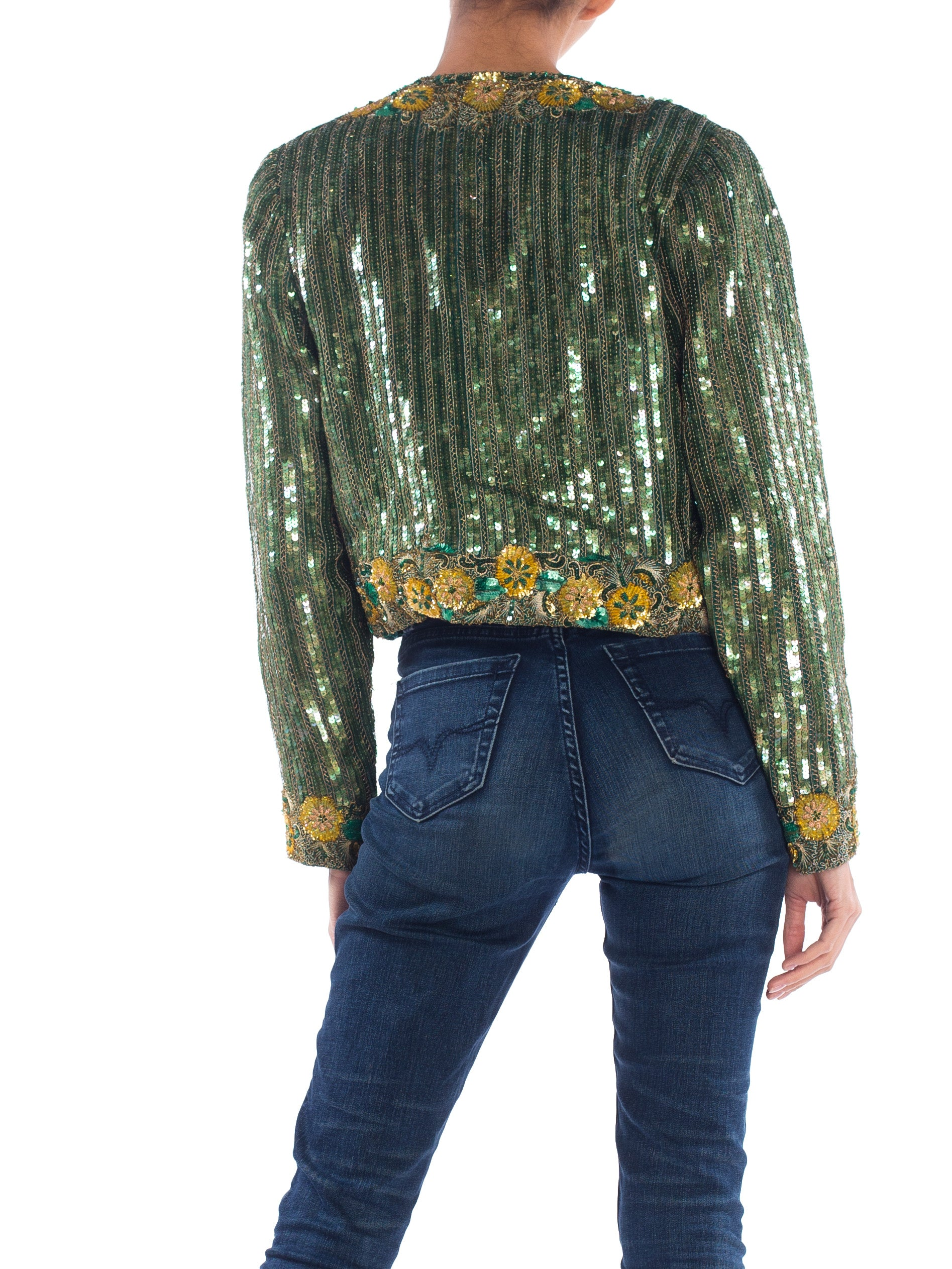 1980S Richilene Emerald Green Silk Jacket Beaded With Gold Flowers & Embroidery