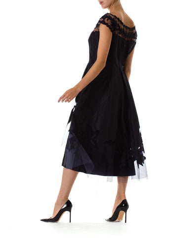 1950S Lanvin Style Navy Blue Silk Taffeta Robe De Tulle Overlay Cocktail Dress