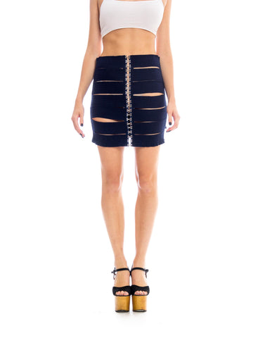 1950s Elastic Bandage Cutout Bodycon Skirt
