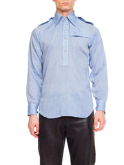 1970s Mens Chambray Shirt With Epaulets