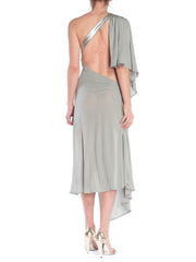 Stone Blue Cutout Drapey Silver Leather Strap Dress