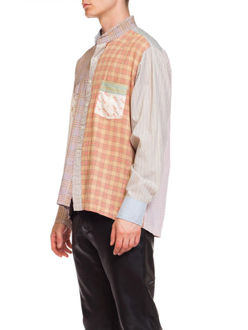 1970 Bloomingdales Cotton Men's Patchwork Plaid Collarless Shirt