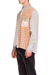 1970s Mens Bloomingdales Patchwork Plard Collarless Shirt