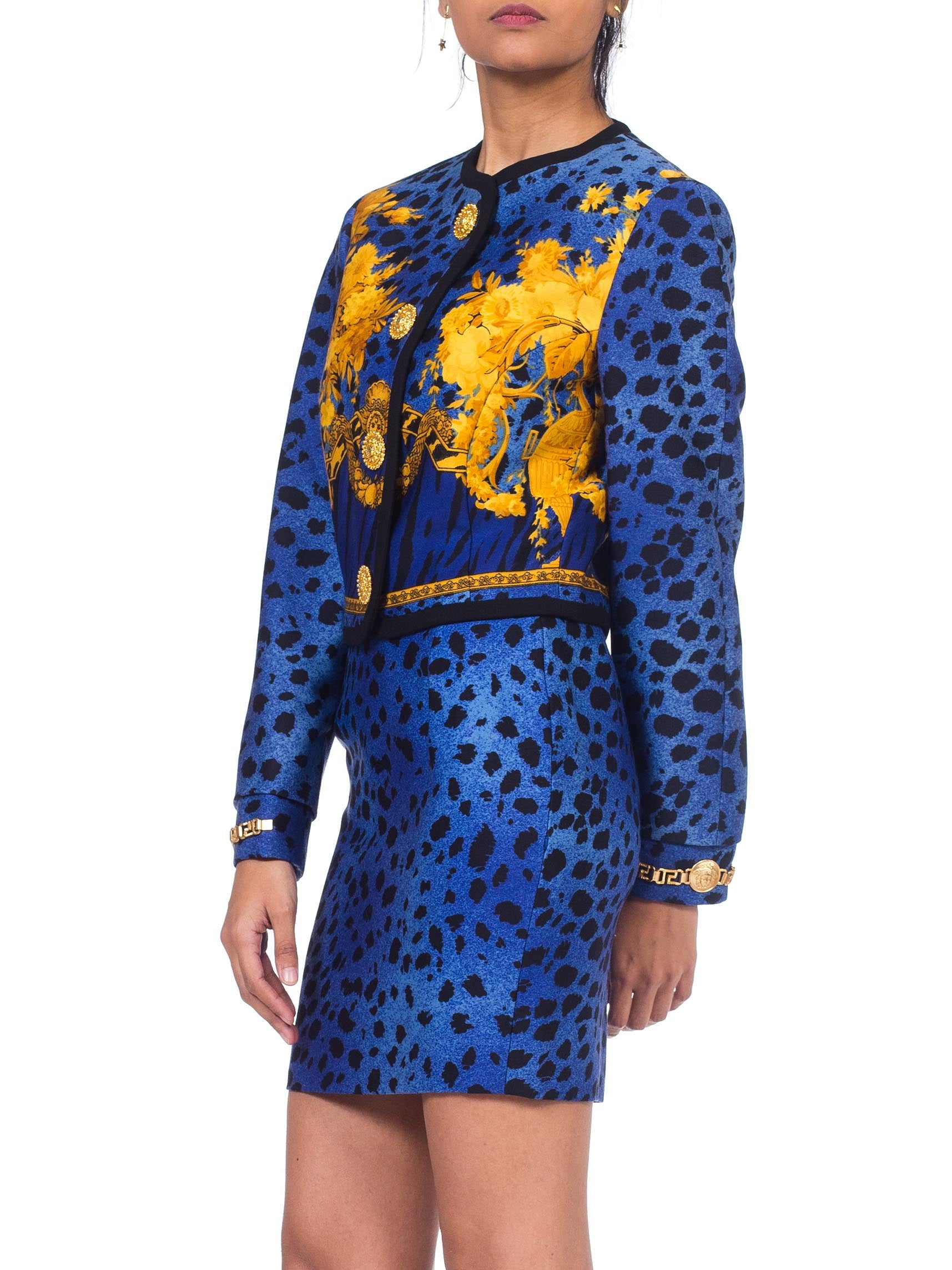 1990S GIANNI VERSACE Blue Baroque Leopard Print  Skirt Suit With Gold Chain Hardware