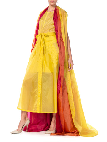 1990S Ann Demeulemeester Yellow, Orange & Red Nylon Parachute Multi Layered Sleeveless Ensemble