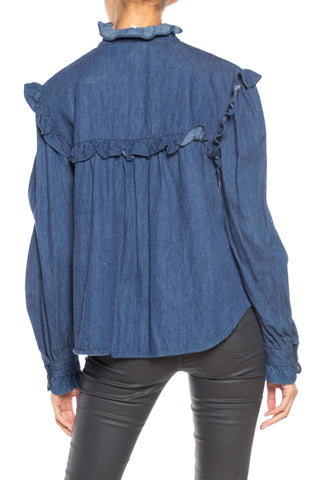 1980S Cotton Denim Victorian Style Ruffled Blouse