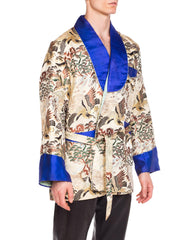 1970s Asian Embroidered Scenery Smoking Jacket with Blue Satin Trim
