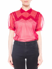 Red Nylon Short Sleeve Top with Collar, Ruffles, and Zigzag Embroidery