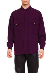1990s Men's Gianni Versace Wrapy Wool Silk Crepe Shirt