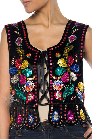 1960S Black Rayon & Cotton Velvet Boho Lace-Up Top Beaded With Colorful Metal Sequins