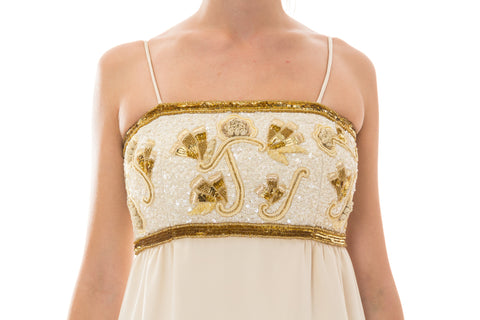 1980S KLEINFELD Ivory & Gold Silk Faille Hand Beaded And Embroidered Gown With Matching Jacket