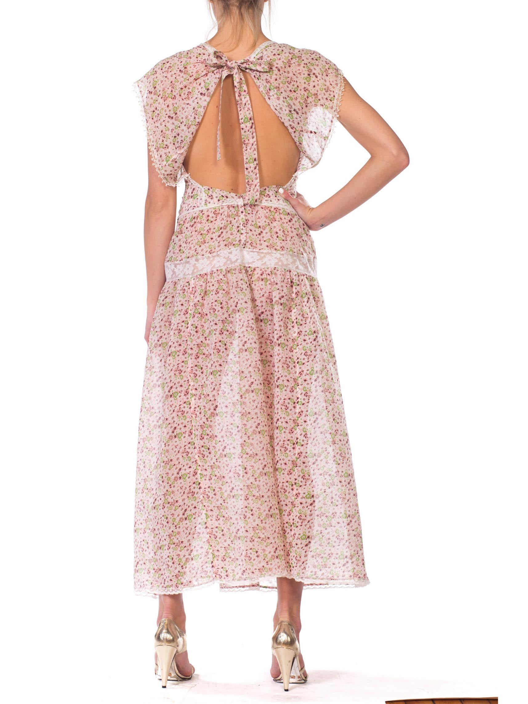 1930S Morphew Collection Backless Dress Made From Floral Cotton With Victorian Lace