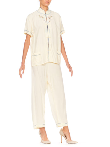 Cream Floral Embroidered Asian Pajama Jumpsuit