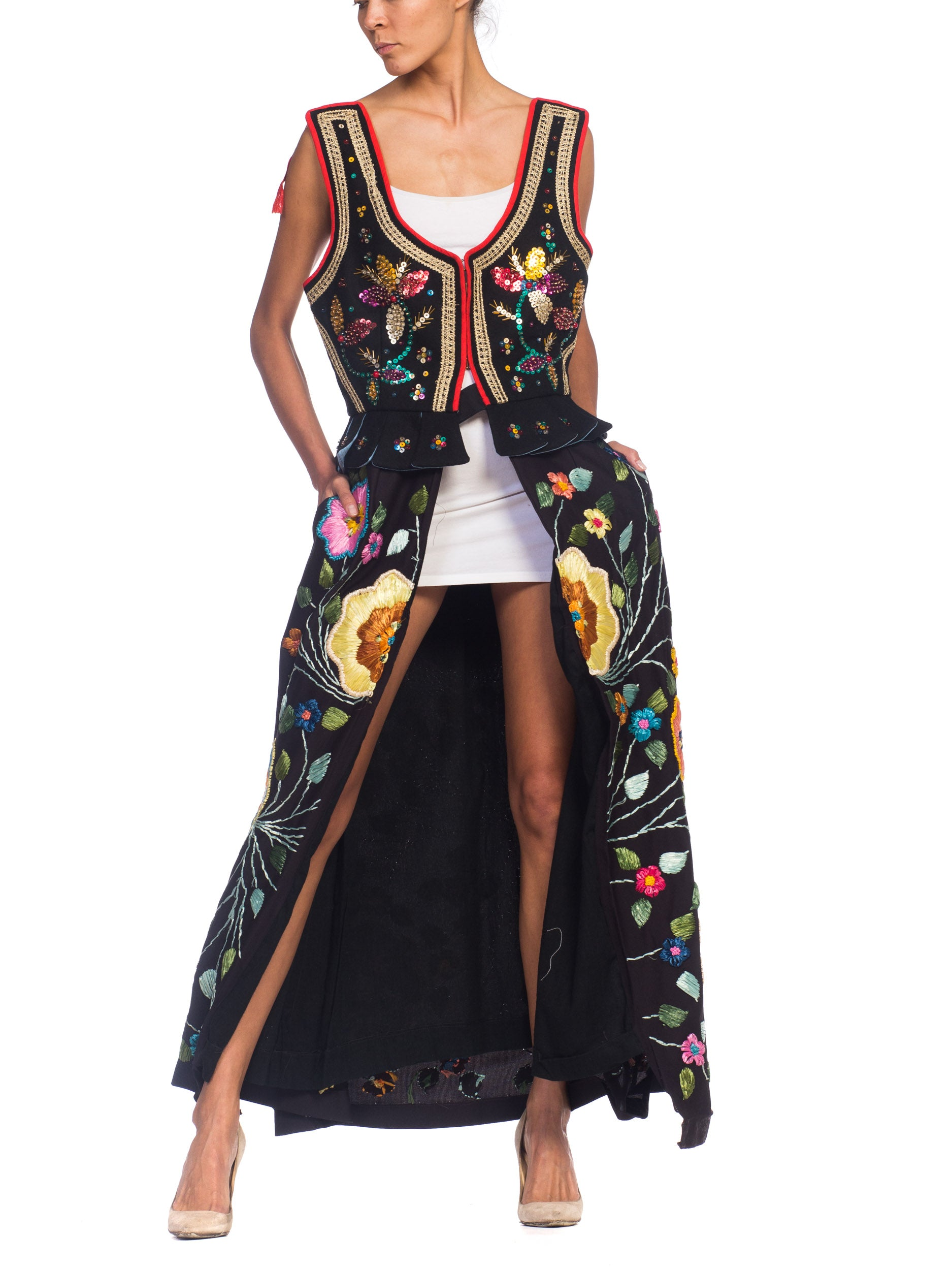 MORPHEW COLLECTION Beaded & Hand Embroidered Raffia Duster Vest