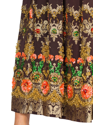 1960S AMELIA GRAY Black & Gold Hand Beaded Rayon/Lurex Brocade Gown