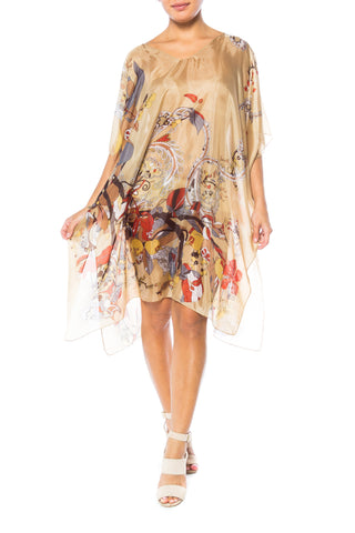 Sheer Abstract Floral Print Tunic