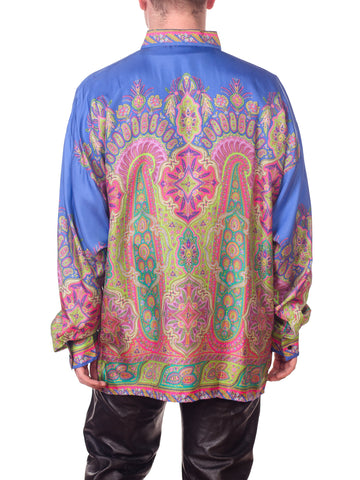1990s Gianni Versace Men's Silk Paisley Shirt