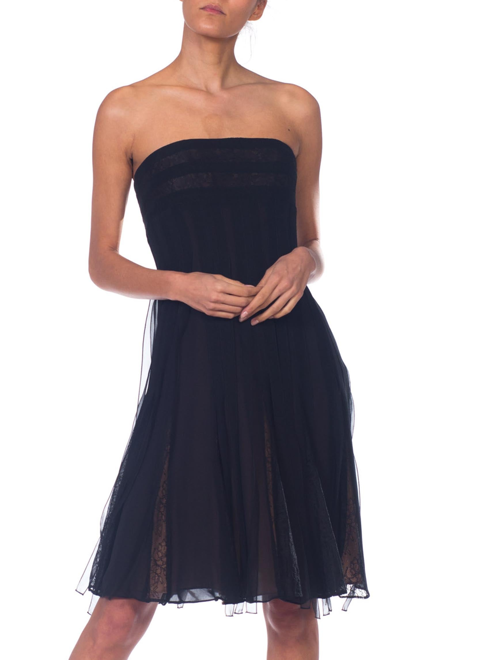 1990S CARMEN MARC VALVO Black Strapless Silk Chiffon & Lace Carwash Skirt Cocktail Dress