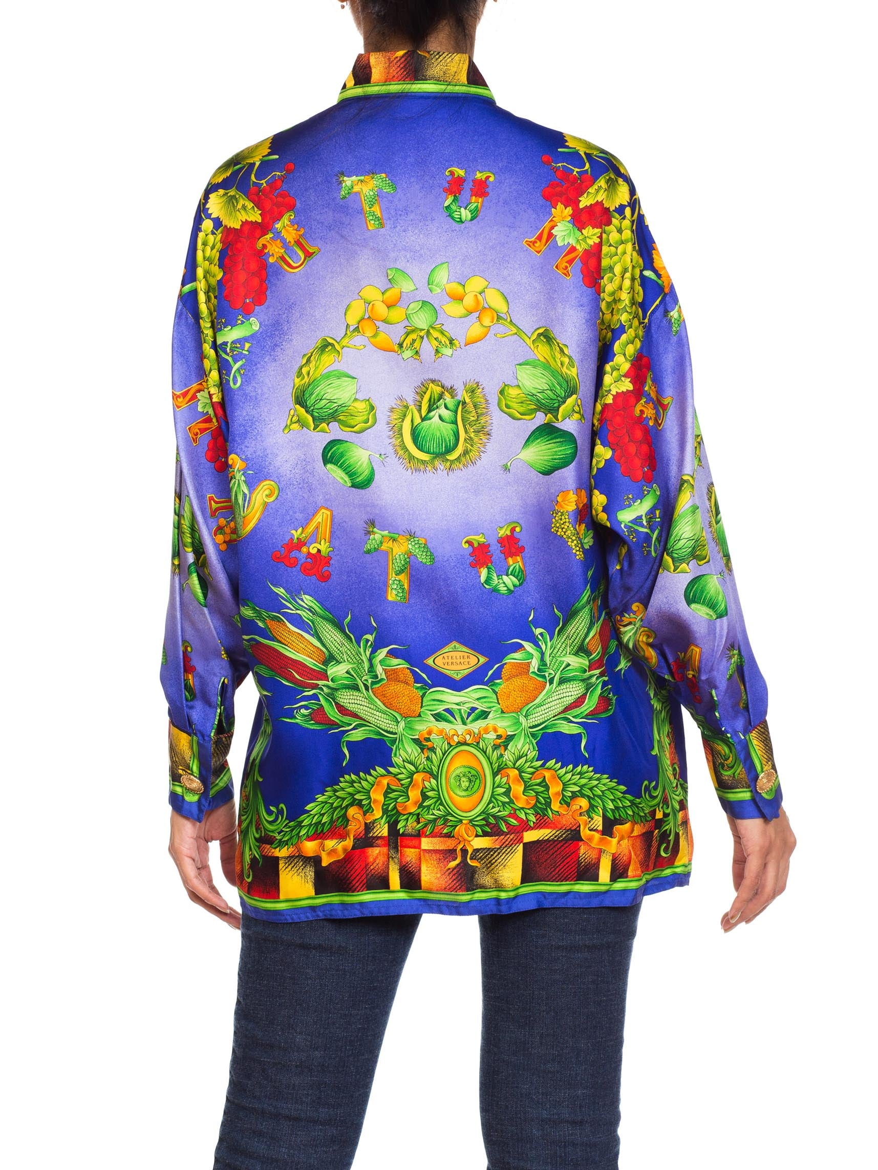 "1990S GIANNI VERSACE Silk ""Autumn Nature"" Baroque Printed Shirt Sz 40"