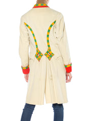 Mens Creme Wool Military with Gold Buttons and Yellow and Green Ribbon