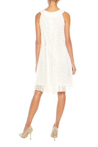 1960S White Pleated Rayon & Nylon Lace Mod Cocktail Dress With Crystal Neckline