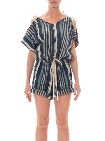 MORPHEW COLLECTION Blue & White African Cotton Striped Indigo Drawstring Romper
