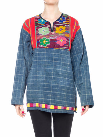 Morphew Collection Cotton Indigo Top With Floral Embroidery