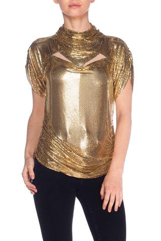 1980S Whiting & Davis Metal Gold Mesh Blouse Top