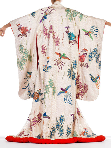 Mid-Century Hand Painted & Embroidered Japanese Silk Kimono with Gold Details