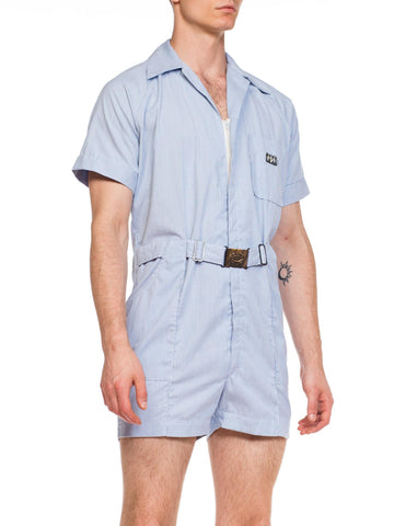 1950S Bullocks Wilshire Blue & White Pinstripe Cotton Men's Leisure Short Jumpsuit