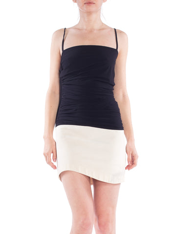 Gianfranco Ferre Ruched Black and White Minimal Dress