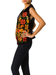 1960s Boho Floral Embroidered Velvet Folk Vest