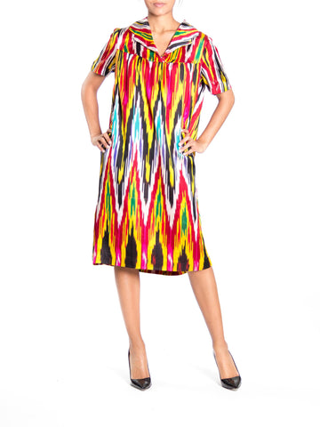 1970S Rainbow Hand Woven Silk Ikat Satin Short Sleeve Tunic Dress