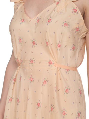 1940S Peach Bias Cut Silk Floral  Slip Dress With Low Ruffle Back & Waist Ties