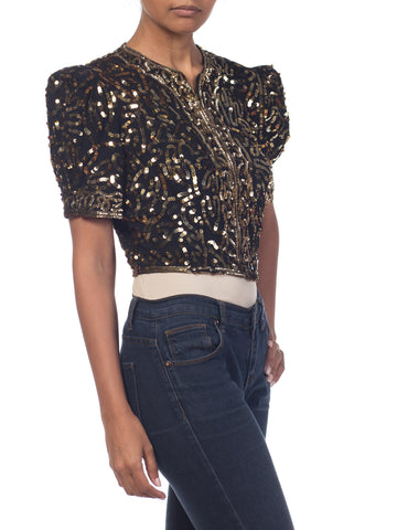 1930S Rayon Crepe Gold Sequined Short Sleeve Zipper Front Dinner Jacket