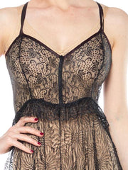 1930s Lace Black Slip Dress