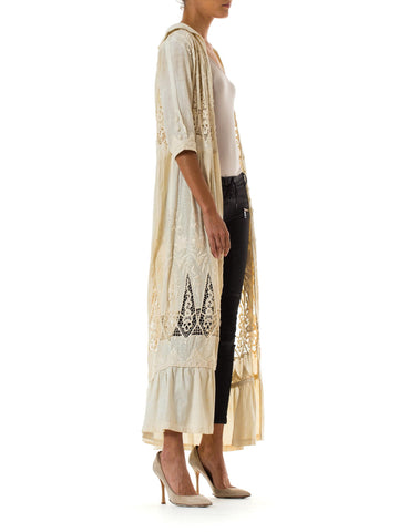 1910S  Hand Embroidered Handmade Lace Cotton, Silk Edwardian Dress