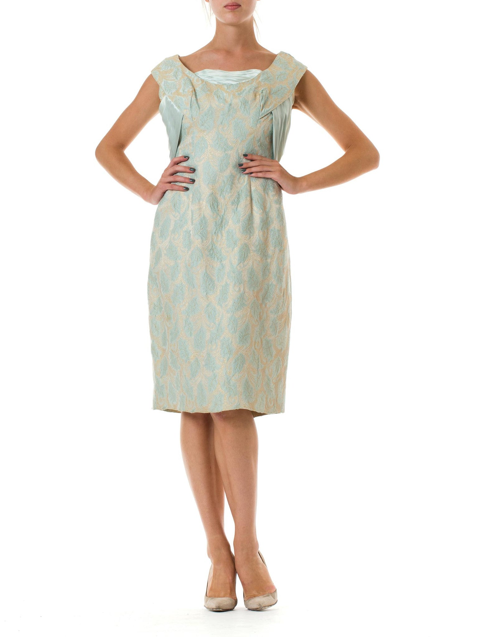 1950s Suzy Perette Silk Jacquard Sleeveless Dress