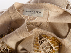 Dries Van Noten Lace Cut Out Beaded Sweater