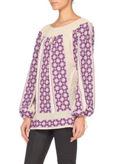 Boho Top With Purple Embroidery